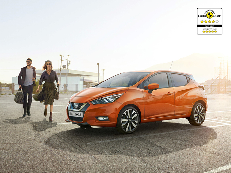 Allnew Nissan Micra awarded four and fivestar Euro NCAP safety